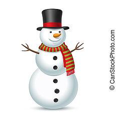 bonhomme de neige, isolé, illustration, arrière-plan., vecteur, blanc