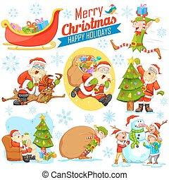 bonhomme de neige, joyeux, elfe, calus, conception, santa, vacances, noël