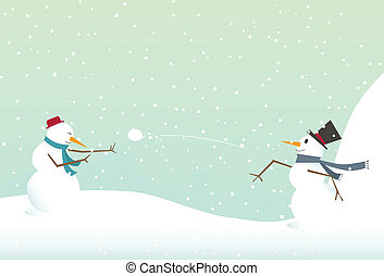bonhomme de neige, lancement, boule de neige