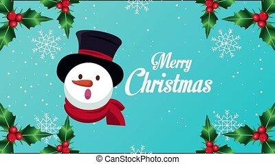 bonhomme de neige, lettrage, heureux, joyeux, carte, noël, tête