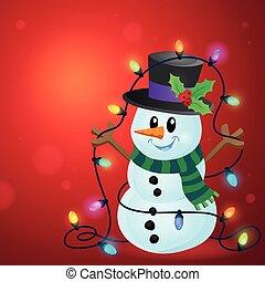bonhomme de neige, lumières, image, 3, noël