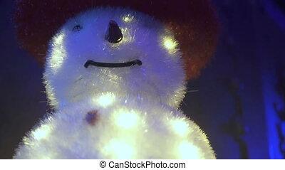 bonhomme de neige, lumières, noël