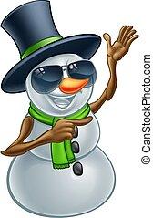 bonhomme de neige, lunettes soleil, nuances, ou, noël, frais