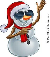 bonhomme de neige, lunettes soleil, santa chapeau, noël, frais