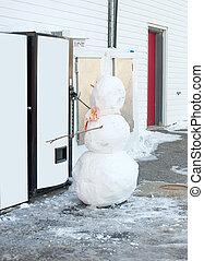 bonhomme de neige, machine., soude