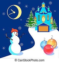 bonhomme de neige, maison, illustratiob, vecteur, noël