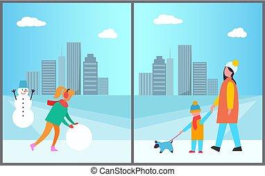 bonhomme de neige, marche, femme, fils, mère, confection