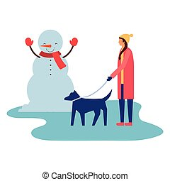 bonhomme de neige, marche, femme, hiver, elle, chien