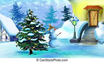 bonhomme de neige, merveilleux, jour arbre, noël