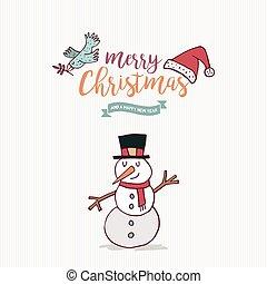 bonhomme de neige, mignon, dessin animé, année, nouveau, noël carte