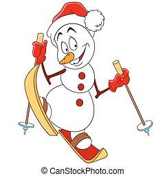 bonhomme de neige, mignon, heureux