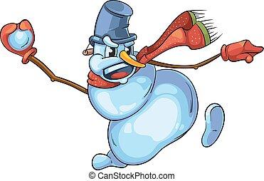 bonhomme de neige, mignon, illustration, boule de neige, vecteur, rouges, jets, écharpe
