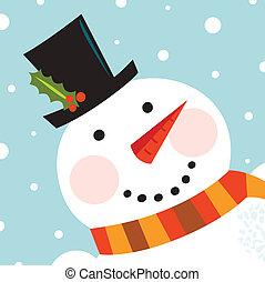 bonhomme de neige, mignon, neiger, figure, fond, heureux