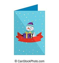 bonhomme de neige, mignon, noël carte