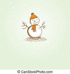 bonhomme de neige, mignon, noël carte, vendange