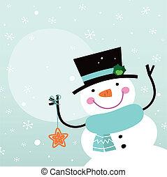 bonhomme de neige, mignon, noël, dessin animé, décoration