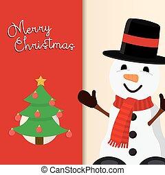 bonhomme de neige, mignon, salutation, vacances, noël carte