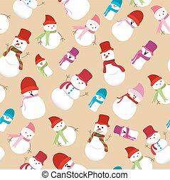 bonhomme de neige, modèle, noël, seamless