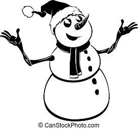 bonhomme de neige, monochrome, noël