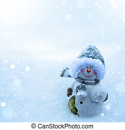 bonhomme de neige, neige bleue, fond, noël