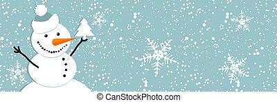 bonhomme de neige, noël carte, heureux