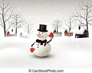 bonhomme de neige, noël, fond, heureux