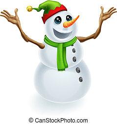 bonhomme de neige, noël, heureux