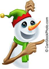 bonhomme de neige, noël, pointage