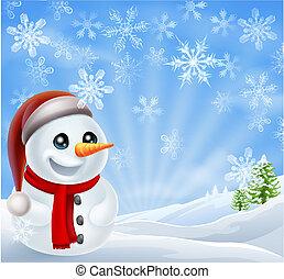 bonhomme de neige, noël, scène hiver