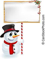 bonhomme de neige, noël, tenue, signe