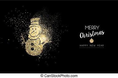 bonhomme de neige, or, année, nouveau, scintillement, noël carte