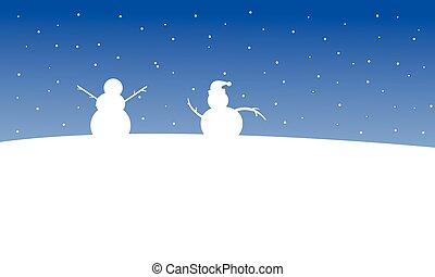bonhomme de neige, paysage, colline, noël, nuit