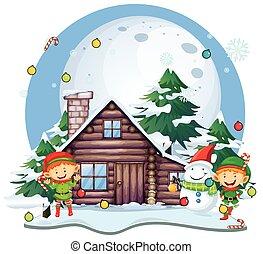 bonhomme de neige, petite maison, eleves, noël