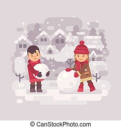 bonhomme de neige, peu, gosses, hiver, deux, village, confection