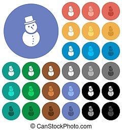 bonhomme de neige, plat, multi coloré, icônes, rond