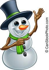 bonhomme de neige, ponting, noël, dessin animé