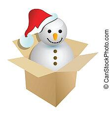 bonhomme de neige, présent, ou, cadeau