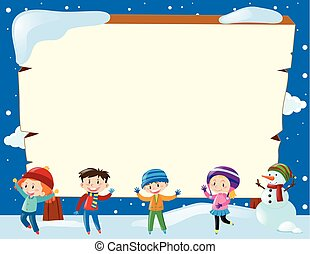 bonhomme de neige, quatre, frontière, enfants, gabarit
