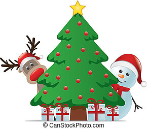 bonhomme de neige, renne, christm, derrière