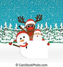 bonhomme de neige, renne, claus, jeter coup oeil, santa
