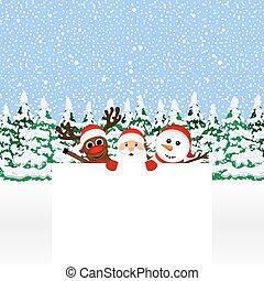 bonhomme de neige, renne, claus, santa