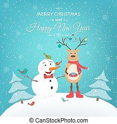 bonhomme de neige, rigolote, cerf, année, nouveau, noël carte