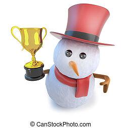 bonhomme de neige, rigolote, tasse or, porter, sommet, récompense, dessin animé, tenue, chapeau, trophée, 3d