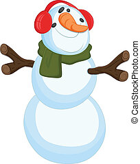 bonhomme de neige, rigolote, vecteur, illustration