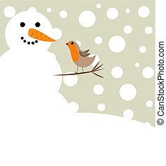 bonhomme de neige, rouge-gorge, oiseau