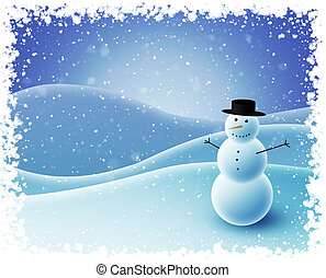 bonhomme de neige, séance, collines, neigeux