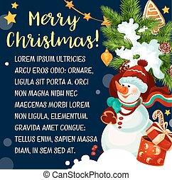 bonhomme de neige, salutation, vecteur, joyeux noël, carte