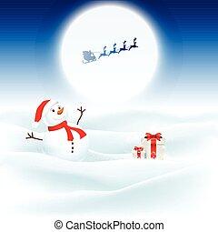 bonhomme de neige, santa, fond, noël