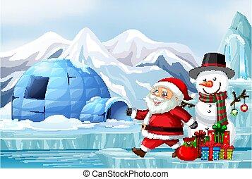 bonhomme de neige, santa, scène, noël
