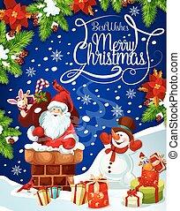 bonhomme de neige, santa, toit, cadeau, noël